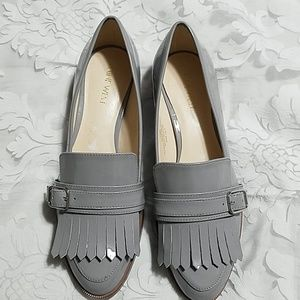 Gray loafer shoes